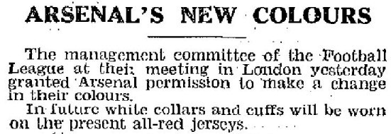 1933-02-21 Daily Mirror - Arsenal's new colours approved by the FL