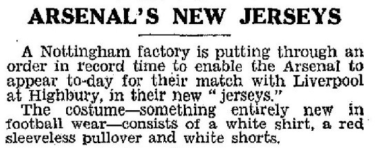 1933-03-04 Daily Mirror - Arsenal's new colours