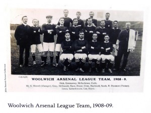 Woolwich Arsenal 1908 to 1909 with names not JMM